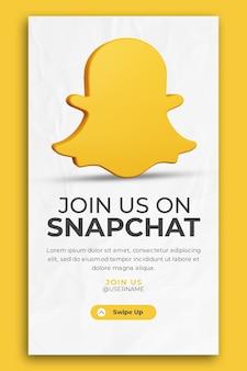 3d render snapchat-bedrijfspromotie voor instagram-verhaalsjabloon voor sociale media