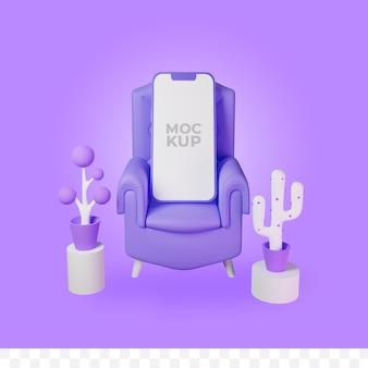 3d render sofa en telefoonmodel