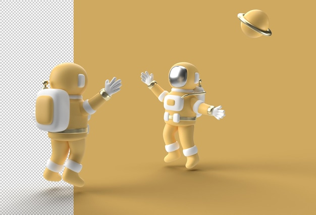 3d render spaceman astronaut springen transparant psd-bestand.