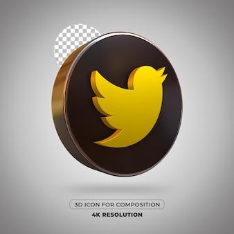 3d render twitter pictogram geïsoleerd