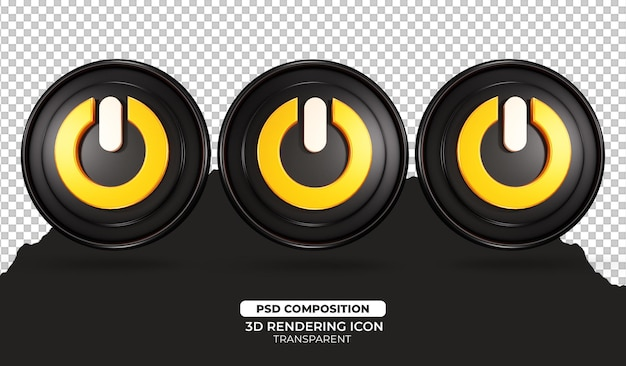 3d render uit-knop pictogram illustratie