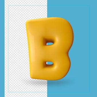 3d render van alfabet letter b.