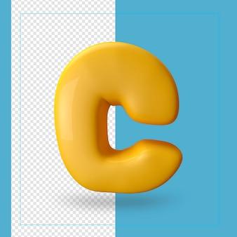 3d render van alfabet letter c.