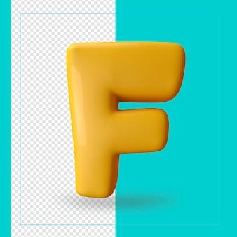 3d render van alfabet letter f
