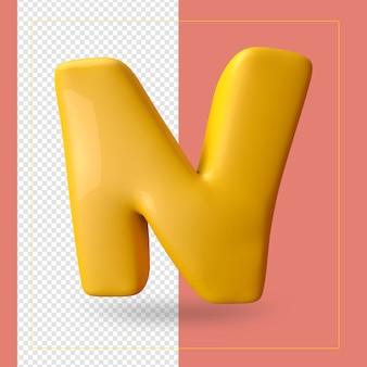 3d render van alfabet letter n