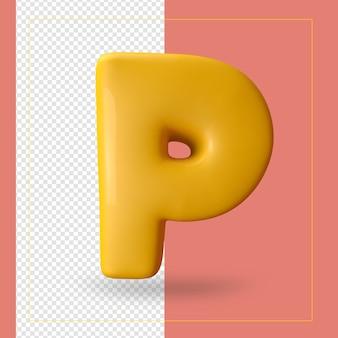 3d render van alfabet letter p.