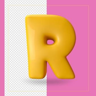 3d render van alfabet letter r