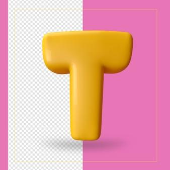 3d render van alfabet letter t.