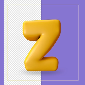 3d render van alfabet letter z