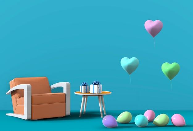 3d render van blauwe studio met fauteuil, ballon.