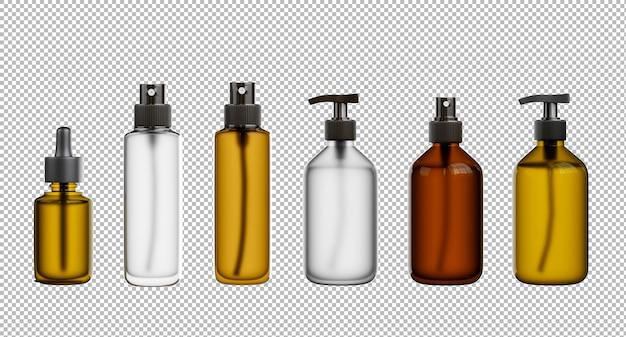 3d render van cosmetica mockup collectie op transparante achtergrond, uitknippad
