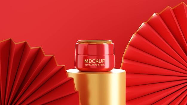 3d render van cosmetische crème mockup ontwerp