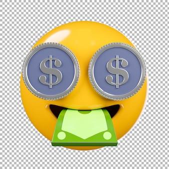 3d render van emoji of emoticon met transparante achtergrond, uitknippad.