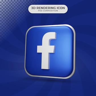 3d render van facebook pictogram ontwerp