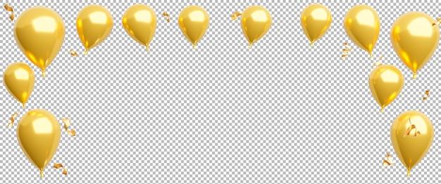 3d render van gouden ballonnen met confetti op transparante achtergrond, uitknippad