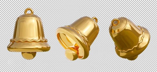3d render van gouden bel met vrolijk kerstfeest op transparante achtergrond, uitknippad