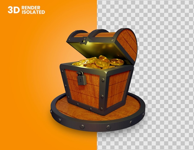 3d render van gouden munten in schatkist geïsoleerd chest