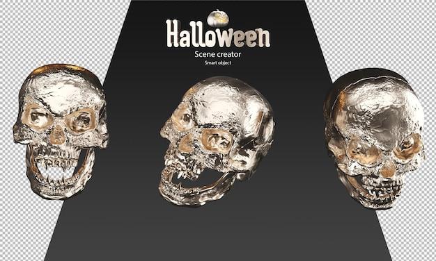 3d render van gouden schedel halloween prop