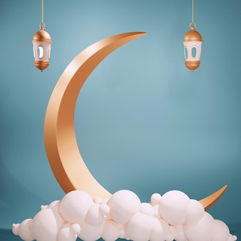 3d render van gouden toenemende maan arabische lantaarns en cloud