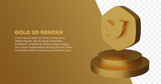 3d render van gouden twitter-logo en podium