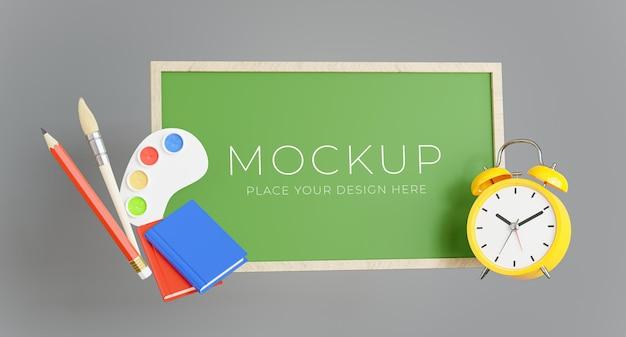 3d render van groen bord met terug naar school concept voor uw productdisplay