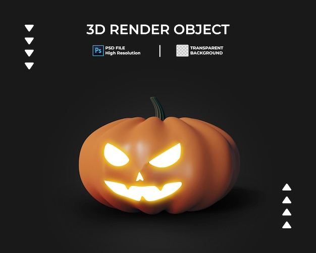 3d render van halloween pompoen pictogram geïsoleerd
