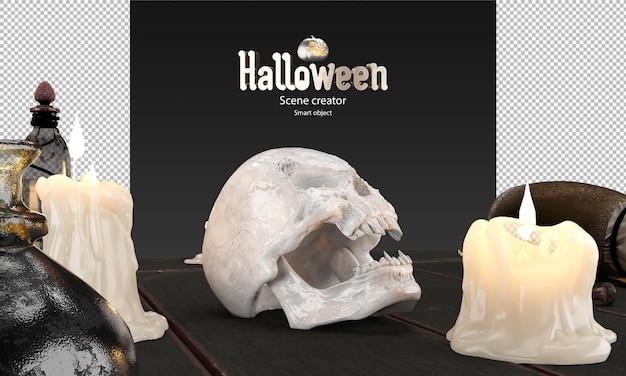 3d render van halloween prop schedel smeltende kaarsen toverdrank fles op oude tafel