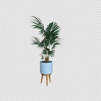 3d render van interieur plant in pot geïsoleerd