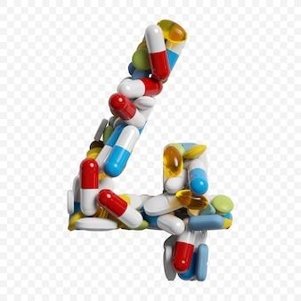 3d render van kleur pillen en tabletten alfabet nummer 4 symbool geïsoleerd op een witte achtergrond