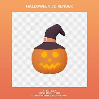 3d render van pompoen en heksenhoed halloween concept