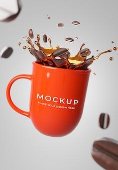 3d render van realistisch koffiemok rood met koffie splash