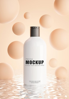 3d render van realistische cosmetica fles met abstracte achtergrond voor uw producten