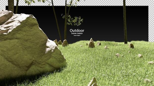 3d render van rotsstenen gras en bomen