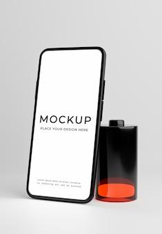 3d render van smartphone met concept mockup met bijna lege batterij