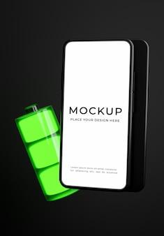 3d render van smartphone met volledig batterijconcept mockup