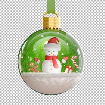 3d render van sneeuwman in kerstbal met kerstconcept, transparante achtergrond, uitknippad