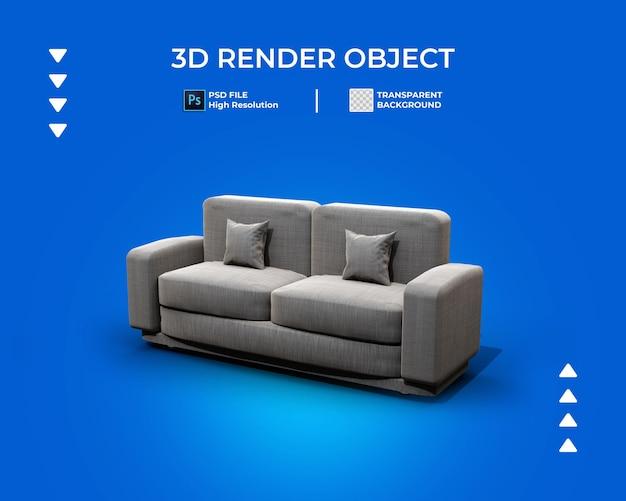 3d render van sofa pictogram geïsoleerd