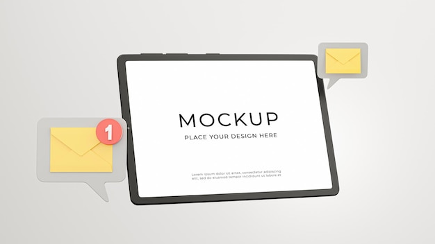 3d render van tablet met e-mailmeldingspictogram voor uw mockup-ontwerp