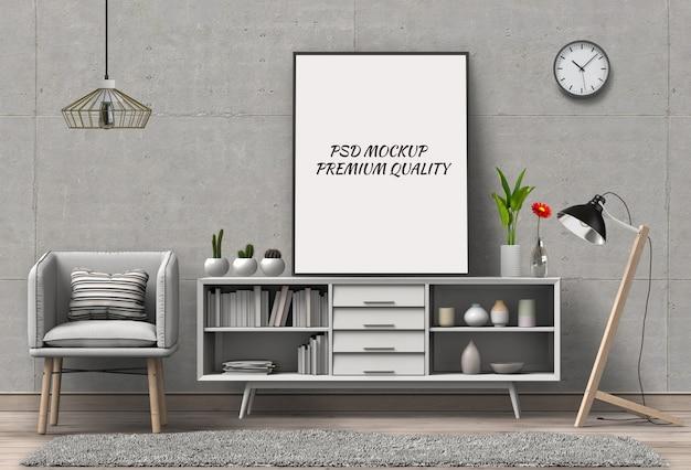 3d render van woonkamer mockup lege poster.