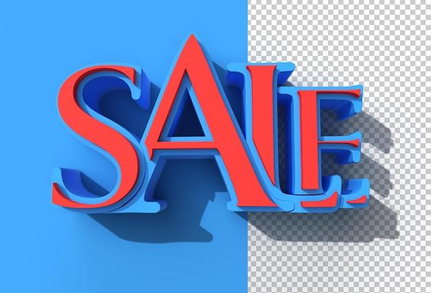 3d render verkoop tekst transparant psd-bestand.