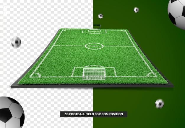 3d render voetbalveld voor samenstelling