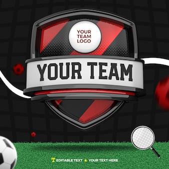 3d render voorkant van rode en zwarte sport en toernooi met strepen op schild en voetbalveld
