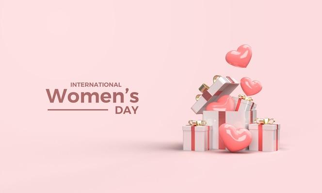 3d render vrouwendag met illustratie van geschenkdozen en roze liefde ballonnen