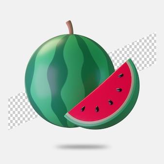 3d render watermeloen pictogram geïsoleerd