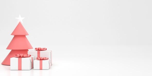3d render weergave pastelkleur prettige kerstdagen en gelukkig nieuwjaar mockup