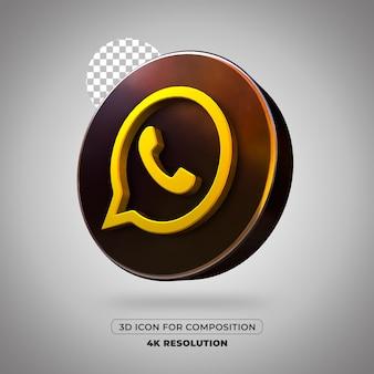 3d render whatsapp-pictogram geïsoleerd