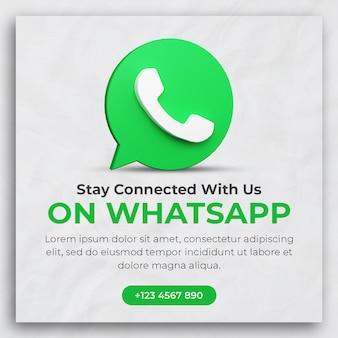 3d render whatsapp zakelijke promotie voor postsjabloon voor sociale media