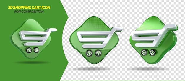 3d render winkelwagen icoon voor algemene compositie