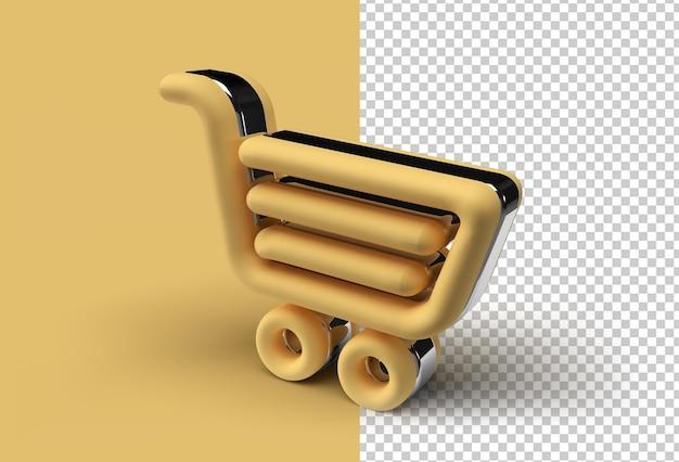 3d render winkelwagen pen transparant psd-bestand.