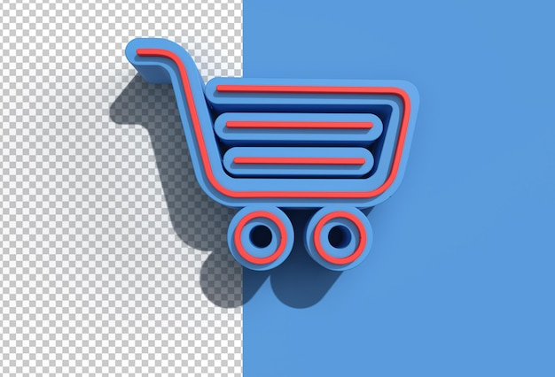 3d render winkelwagen transparant psd-bestand.